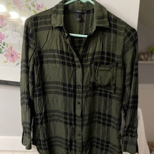 Olive plaid button up